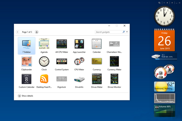 gadgets for windows 10